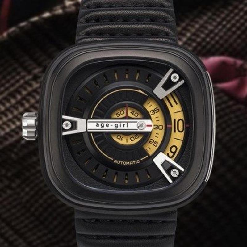 Age Girl メンズ スクエア腕時計 イオンメッキ ステンレススチールシルバー 黒革 カーフスキン ミネラル 男性 クォーツ時計 セブンフライデー好きに