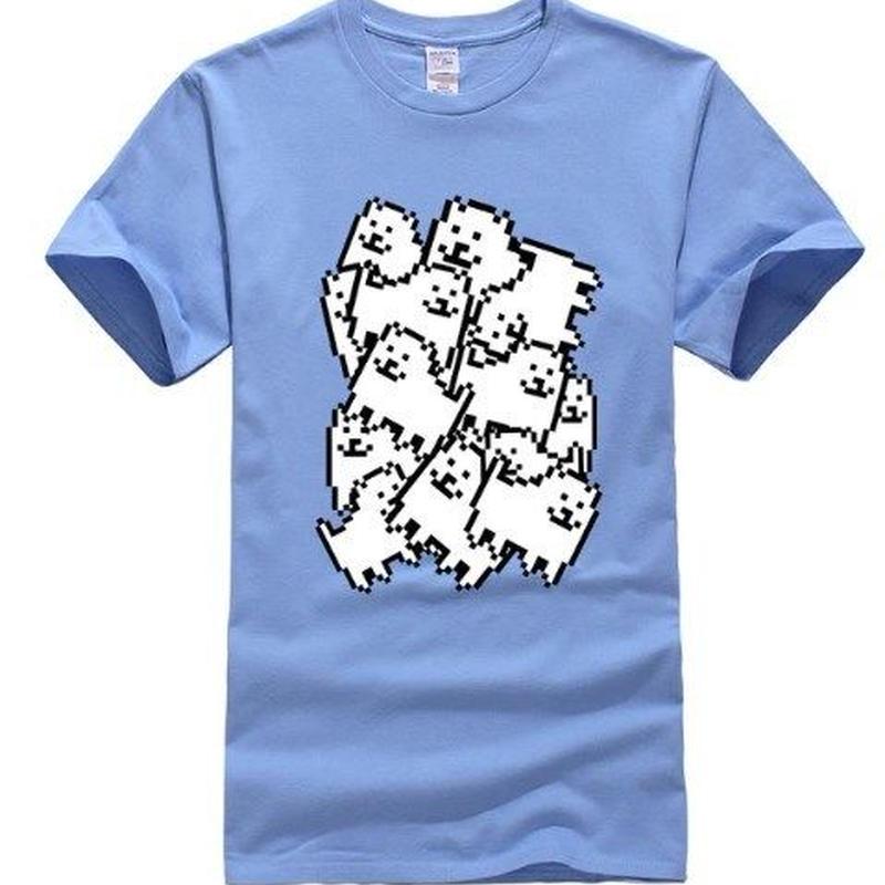 ゲームグッズ アンダーテール Undertale   Annoying dog たくさん うざい犬  大量 うざいイヌ Tシャツ  キャロルブルー