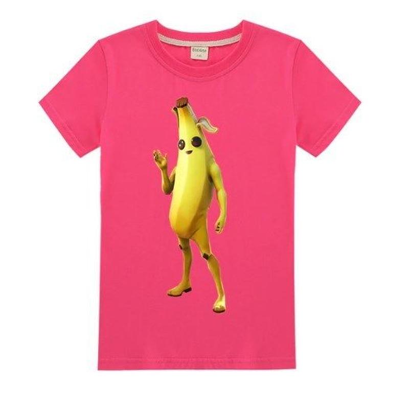 フォートナイト fortnite 子供服  バナナスキン ピーリーTシャツ ユニセックス カジュアル半袖Tシャツ トップス 10色展開 バトルロワイヤル   ローズ