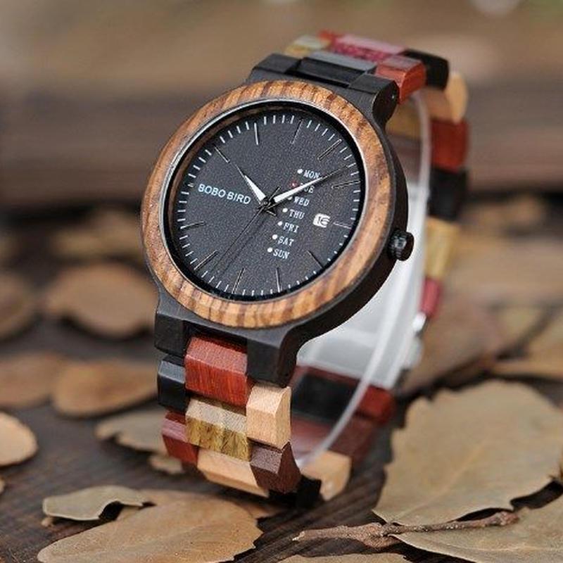 ボボバード【BOBO BIRD】ユニセックス 木製腕時計 カラフル【自然に優しい天然木】