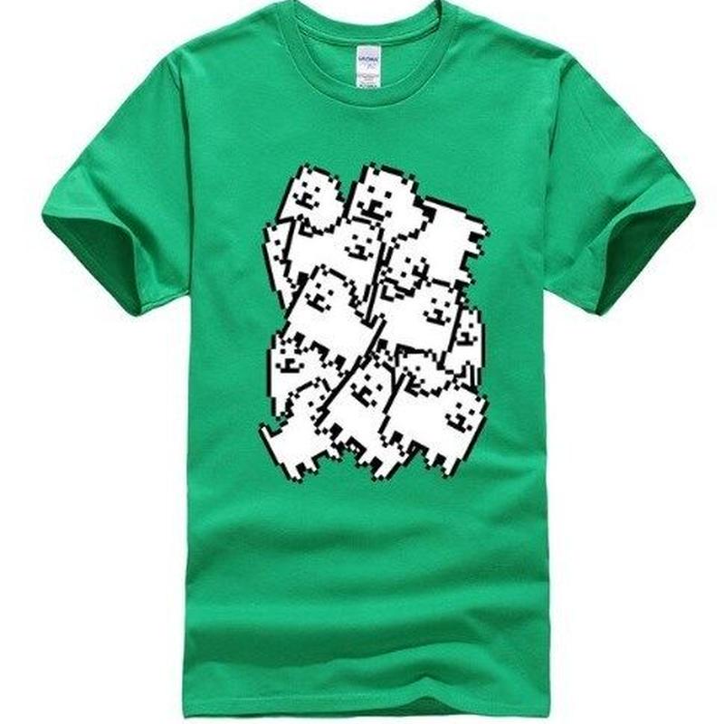 ゲームグッズ アンダーテール Undertale   Annoying dog たくさん うざい犬  大量 うざいイヌ Tシャツ  グリーン