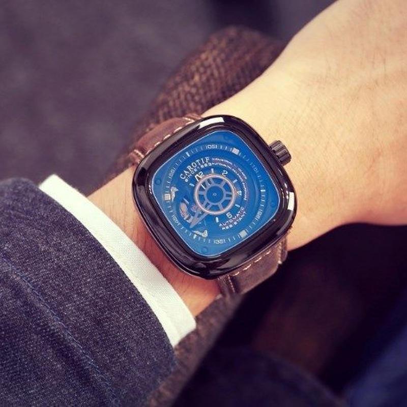 ★CAROTIF★スクエア★高級ブランド メンズ 腕時計 高級レザー ビジネス カジュアル ファッション 海外限定ブランド 機械式腕時計 セブンフライデー 好きに