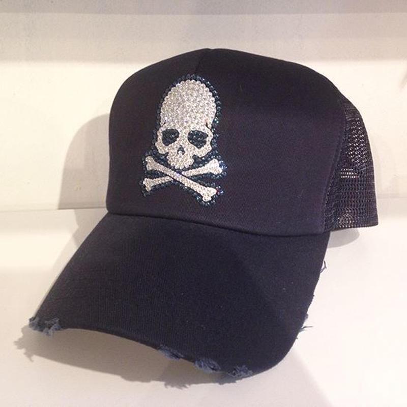 NIAC original  skull ダメージメッシュCAP DNAVY