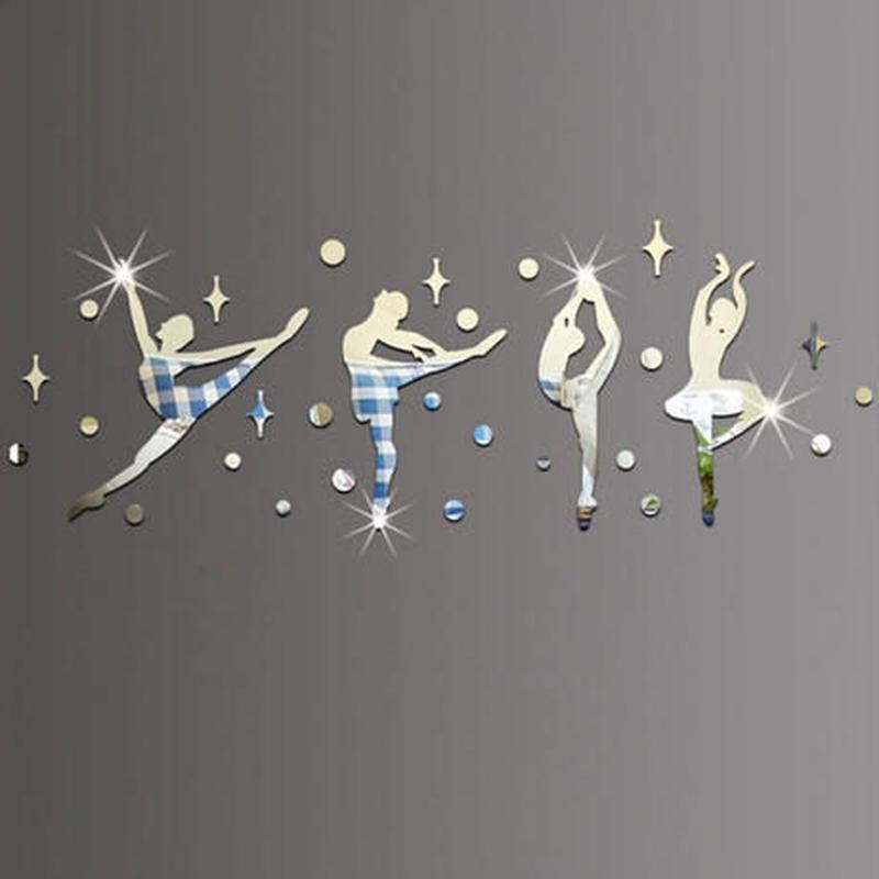 3Dウォールステッカー 影シルエット バレリーナ 鏡 お洒落シール DIY キッチン 寝室 リビング トイレ 子供部屋
