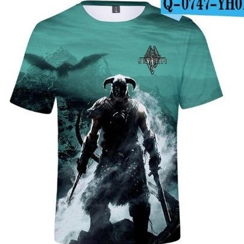 ザ エルダースクロールズ V: スカイリム デザイン Tシャツ  ユニセックス ゲームグッズ The Elder Scrolls V