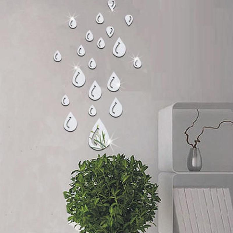ウォールステッカー 鏡タイプ 雫デザイン 20個入 シール おしゃれ DIY 壁 キッチン 寝室 リビング トイレ 子供部屋