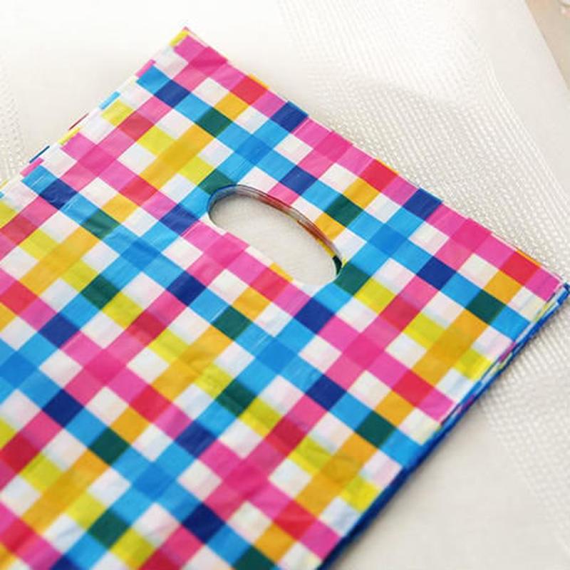 新品送料込 ギフトバッグ 手提げ袋 50枚セット チェック 25×35cm バレンタイン お誕生日会 ラッピング プレゼント