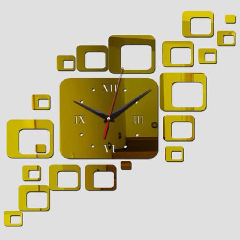 新品送料込★ 時計 壁掛け 3D 鏡 ミラー スクエア型 デザイナーズ 北欧モダン お洒落 面白 輸入雑貨 インテリア 高性能