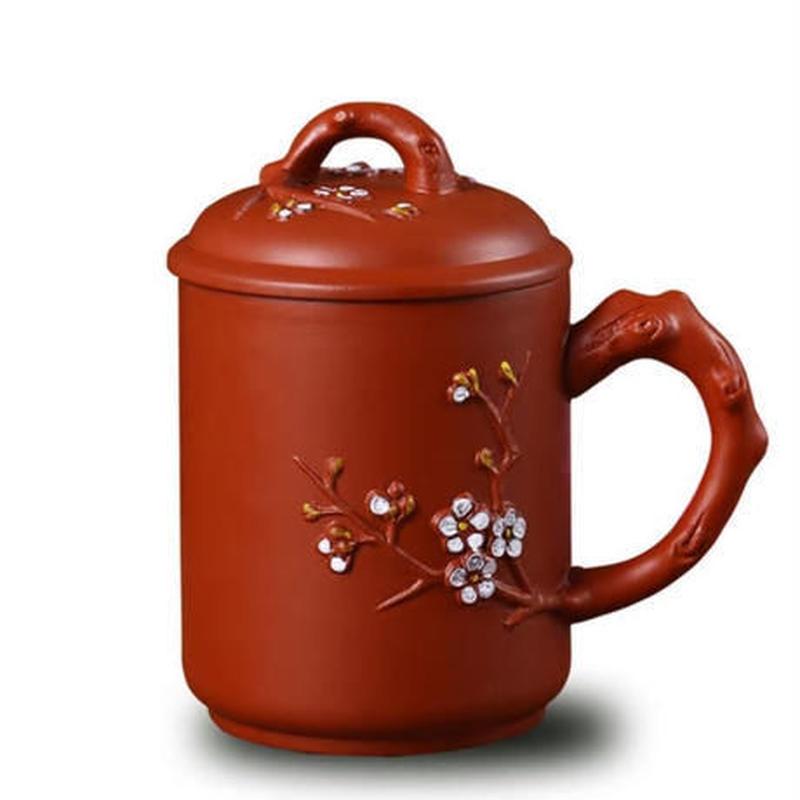 新品送料込 マグカップ ティーカップ 440ml 蓋 お茶フィルター付 渋めデザイン 椿 お茶会に 茶漉し レトロ食器 高級装飾 贈り物