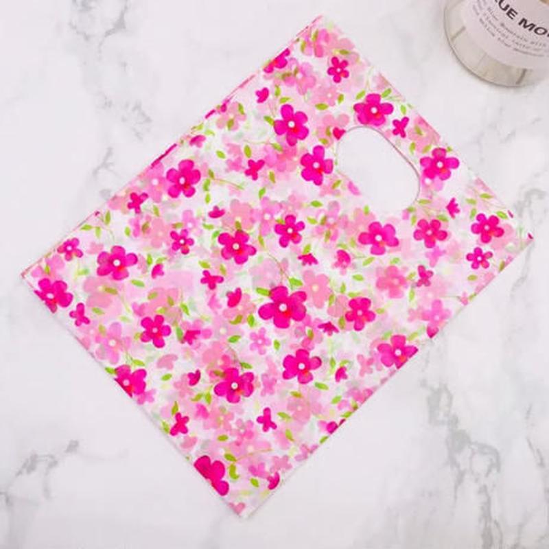 新品送料込 ギフトバッグ 手提げ袋 100枚セット 花柄 ピンク バレンタイン お誕生日会 結婚式 ラッピング プレゼント