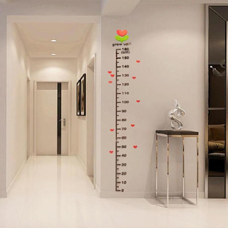 3Dウォールステッカー 身長計 測定 子供 ハート 花 お洒落シール DIY キッチン 寝室 リビング トイレ 部屋