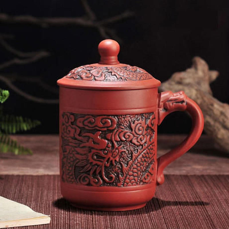 新品送料込 マグカップ ティーカップ 380ml 蓋付 お茶会に ドラゴン 龍 レトロ アンティーク食器 高級装飾 贈り物