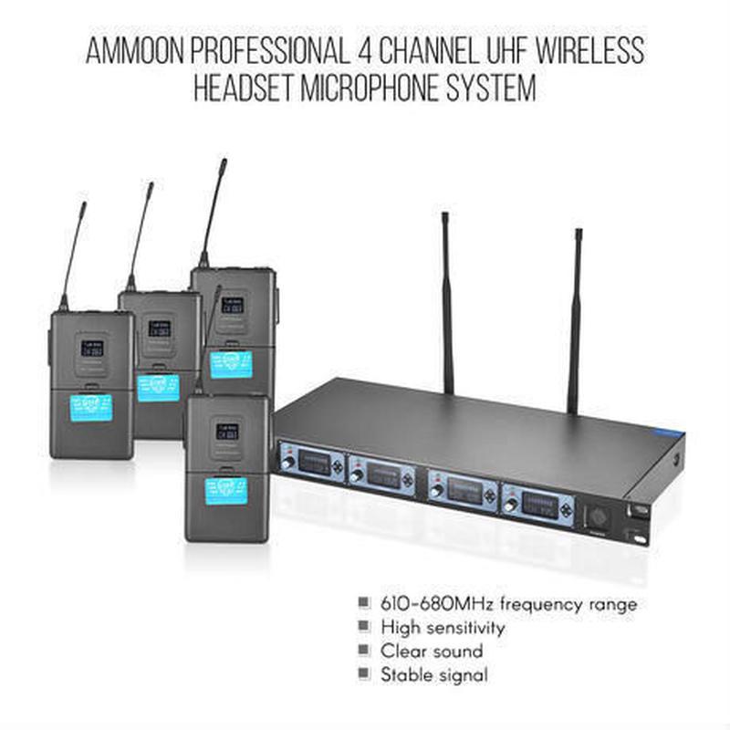 4T Professional 4チャンネルUHFワイヤレスヘッドセットマイクシステム4マイク1ワイヤレスレシーバ6.35mmオーディオケーブルカラオケ