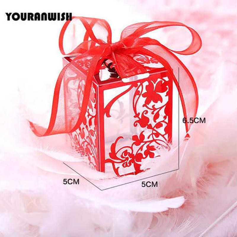 新品送料込 ギフトボックス 50個セット ローズ柄 薔薇 リボン付 バレンタイン お誕生日会 結婚式 ラッピング プレゼント