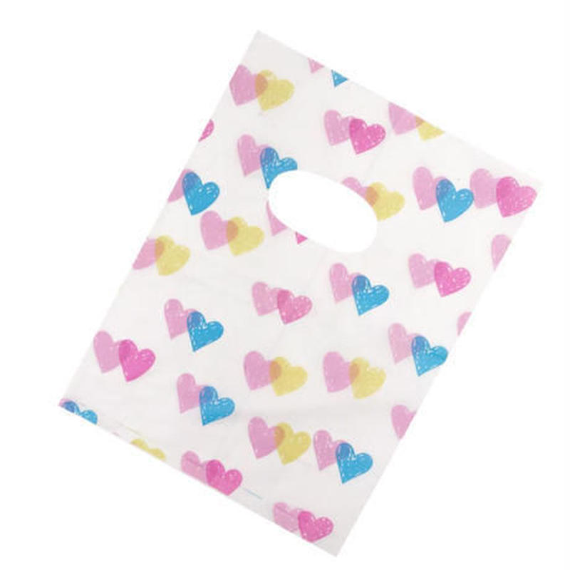 新品送料込 ギフトバッグ 手提げ袋 100枚セット ハート ドット バレンタイン お誕生日会 結婚式 ラッピング プレゼント