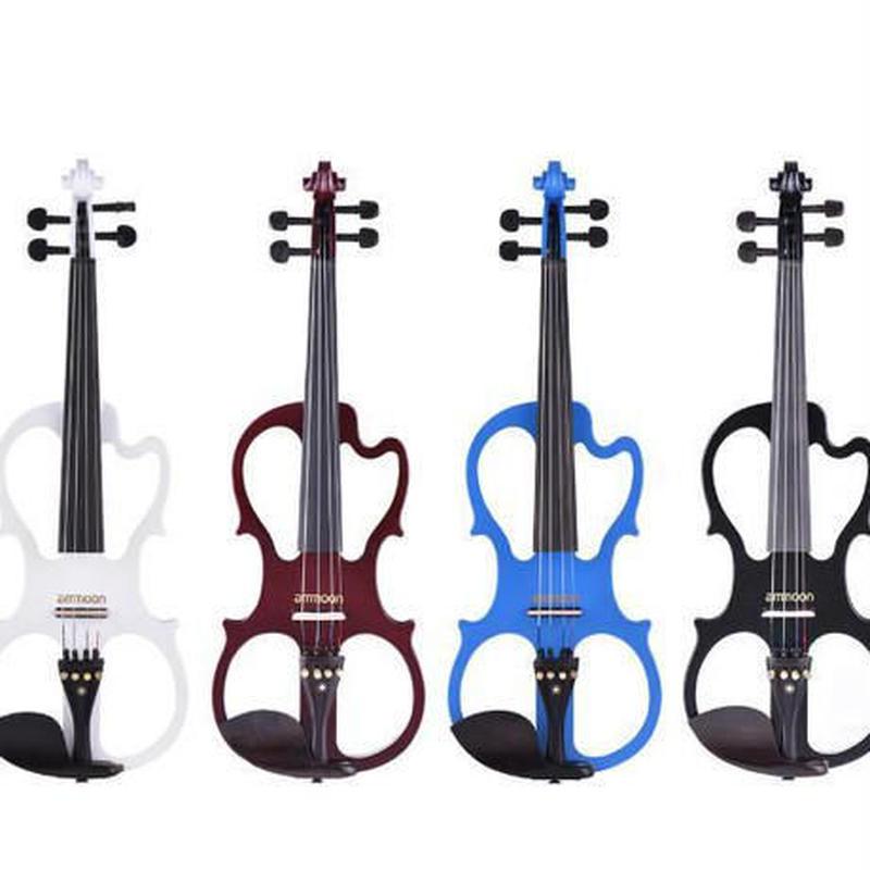 エレキバイオリン 4/4 本体 ケース チューナーセット 4色 ブラック ブルー ホワイト バーガンディ
