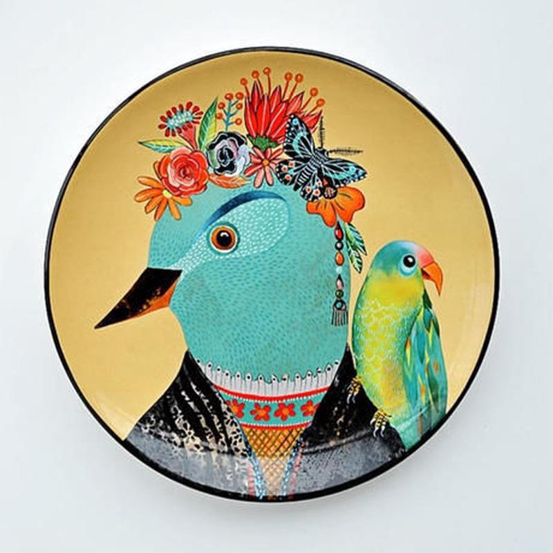 新品送料込 皿 セラミック 食器 鳥 オレンジ 古代エジプトスタイル 海外 高級 おしゃれ ホームパーティ