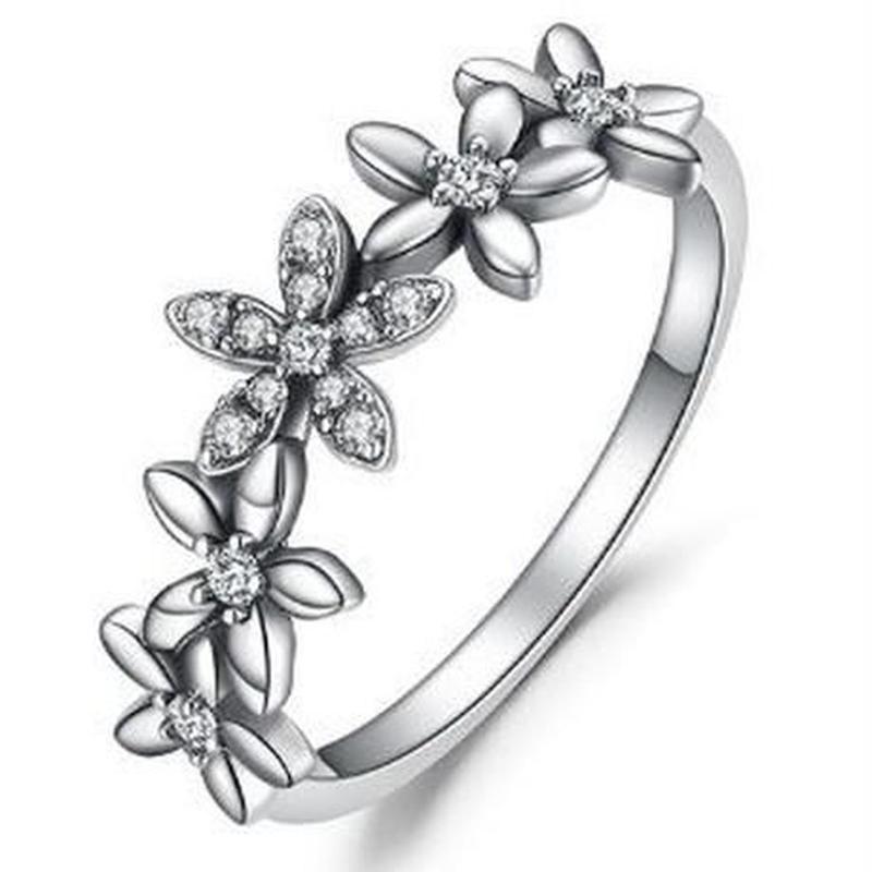 JewelryPalace ヴィンテージフラワー キュービックジルコニアリング