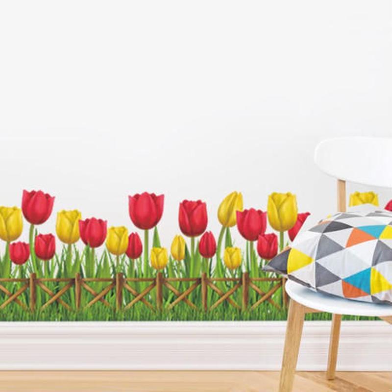 ウォールステッカー 花 チューリップ 自然 ガラス用 お洒落シール DIY キッチン 寝室 リビング トイレ 子供部屋