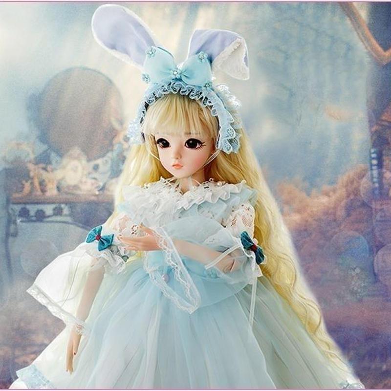 球体関節人形 BJD 衣装付き お姫様 お嬢様 女の子 プリンセスドール 60cm 美しい フランス人形/西洋人形/SD 金髪 ブルーリボン ドレス