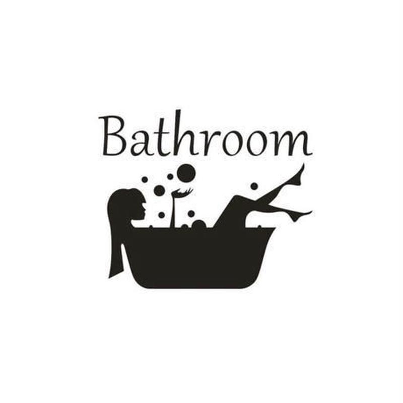 """ウォールステッカー 黒ロゴ """"Bathroom"""" 影シルエット シール おしゃれ DIY 壁 浴室 バスルーム トイレ 部屋"""