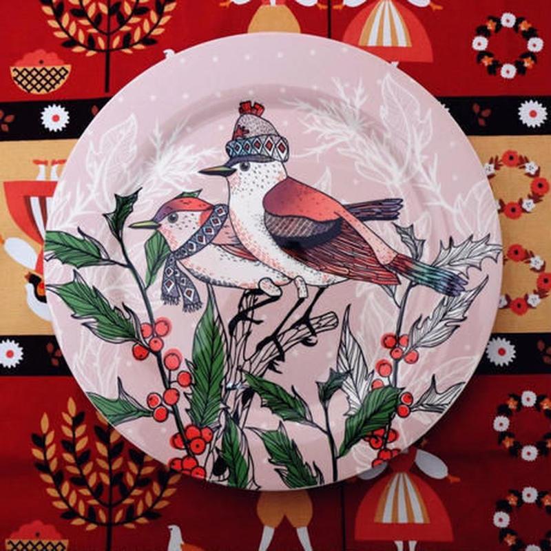 新品送料込 皿 セラミック 食器 ピンク クリスマス 鳥と花 北欧スタイル 高級 おしゃれ