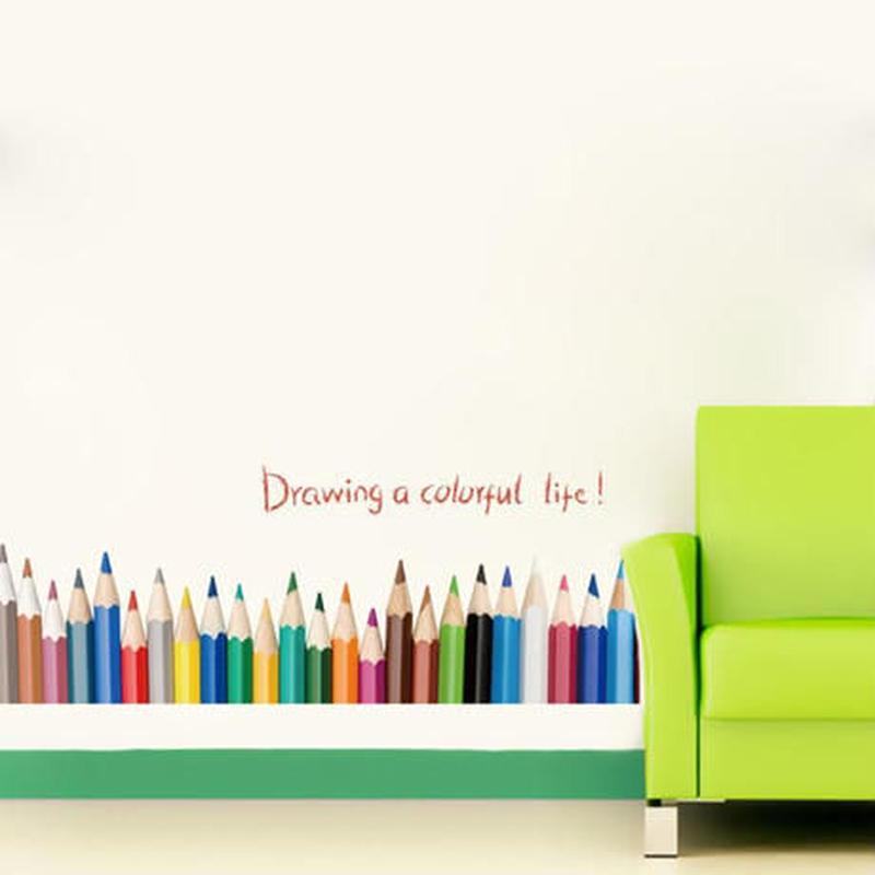 ウォールステッカー 色鉛筆 カラフル アート 英語 お洒落シール DIY キッチン 寝室 リビング トイレ 子供部屋
