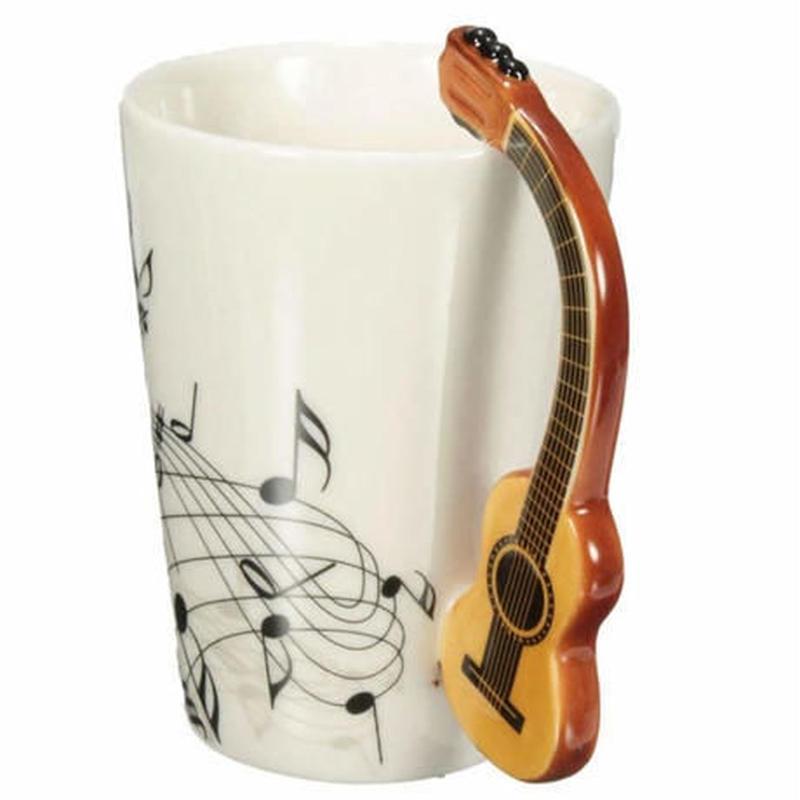 新品送料込 マグカップ ティーカップ 400ml 磁器 ギターデザイン 音符 MUSIC おしゃれ食器 贈り物