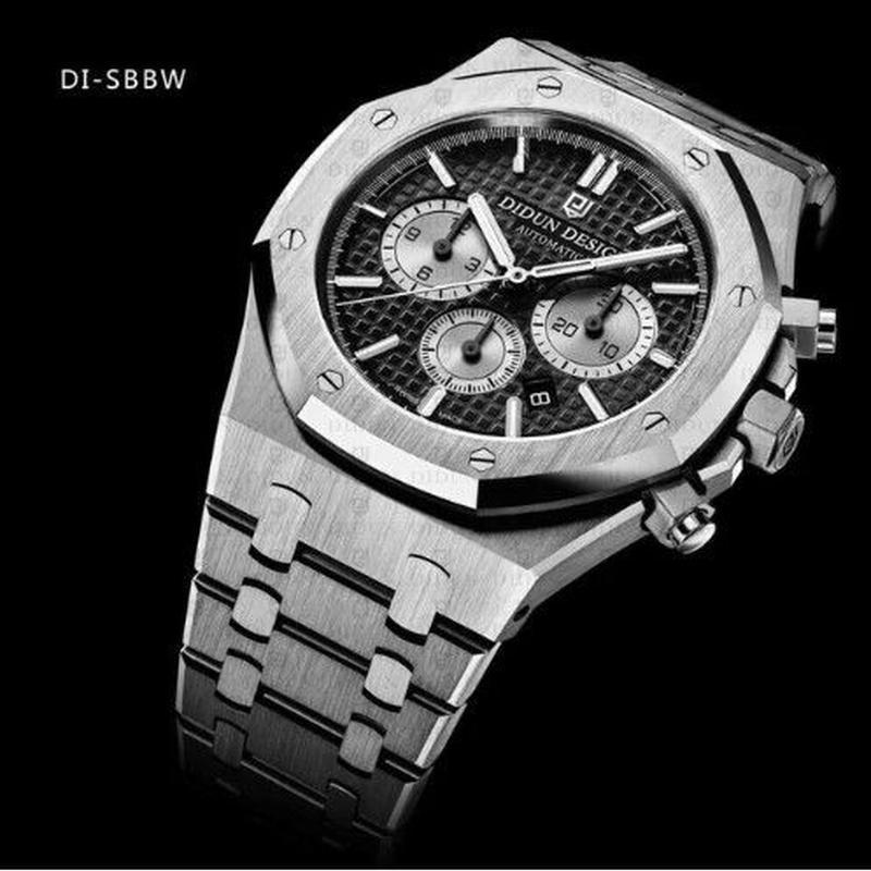 DIDUN DESIGN 正規品/メンズ機械式腕時計/30m耐水性/ステンレスベルト/ラグジュアリー/ クロノグラフ DISBBW