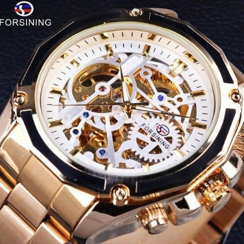 2018新コレクション 透明ケース ゴールデン ステンレス スチール スケルトンの高級デザイン 男性用腕時計トップブランド 腕時計 自動巻き
