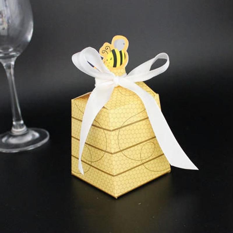 新品送料込 ギフトボックス 100個セット 蜂デザイン リボン付 バレンタイン お誕生日会 結婚式 ラッピング プレゼント