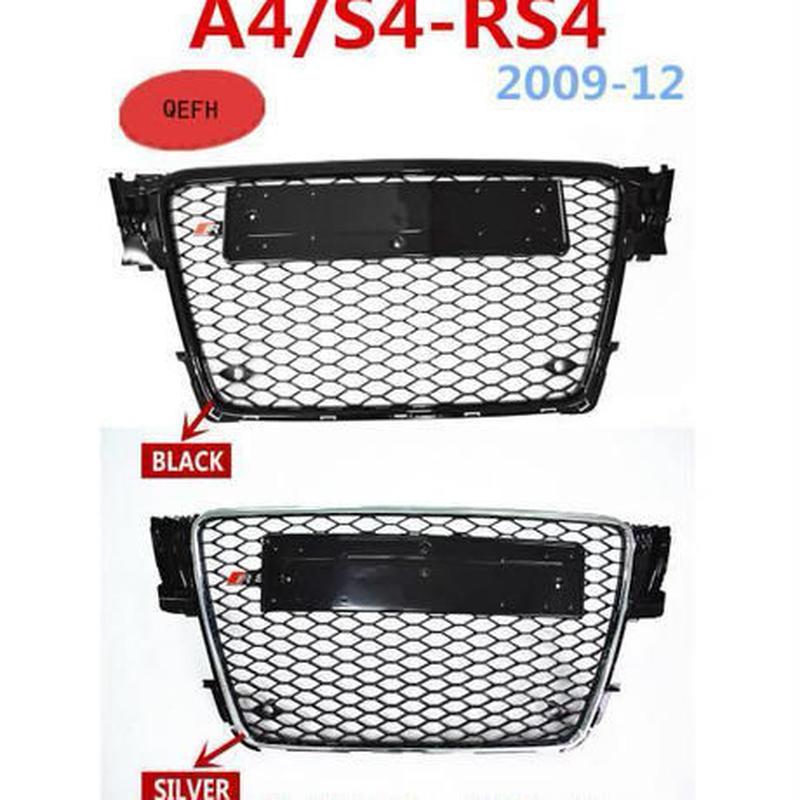 RS4-Styling a4 b8 グリル abs ブラック塗装 フロント 蜂蜜 メッシュグリル アウディ用 a4 s4 rs4 b8セダン/クーペ/コンバーチブル 2008-2012