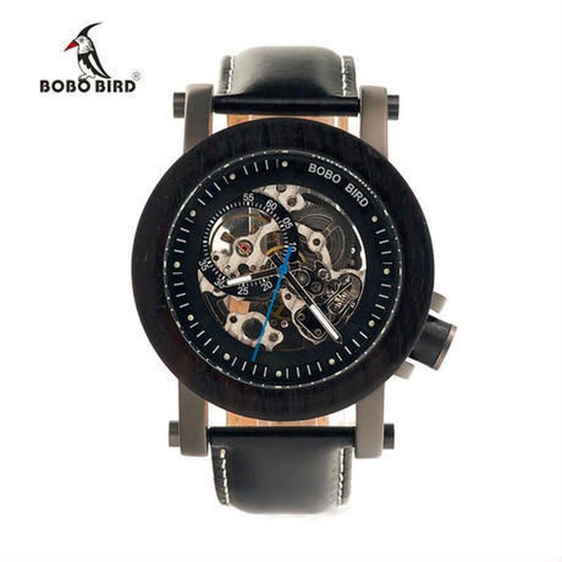 【BOBO BIRD】木製腕時計 機械式 木の温もり 自然に優しい天然木 スタイリッシュ