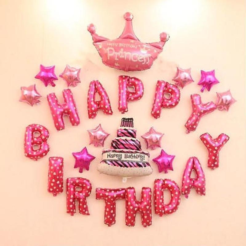 """お誕生日おめでとうロゴ 風船 """"HappyBirthday  デコ飾り付け"""