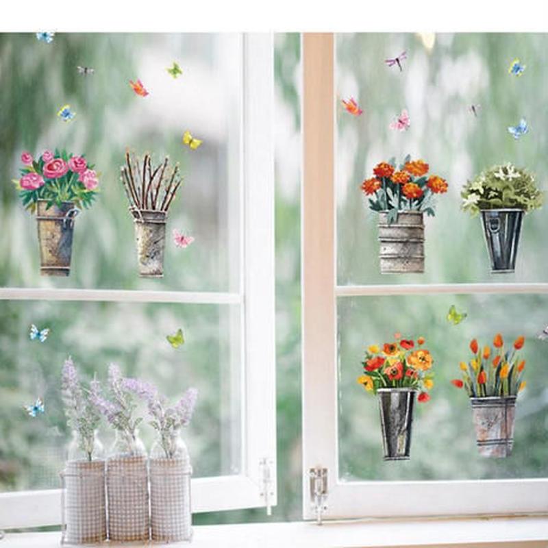 ウォールステッカー 植木鉢 蝶々 ロゴ 英語 シール おしゃれ DIY 壁 キッチン 寝室 リビング トイレ 子供部屋