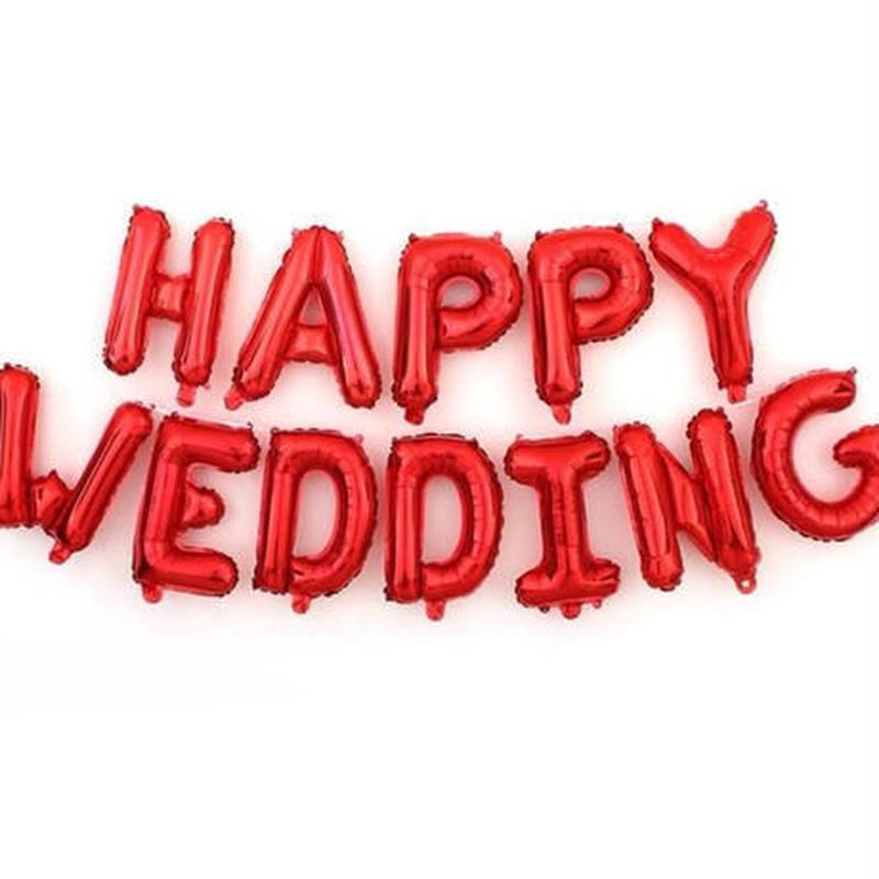 """ロゴ風船 """"HAPPY WEDDING"""" 結婚おめでとう 16インチ 飾り デコ 結婚式 バチェロレッテ パーティ バルーン ヘリウム"""