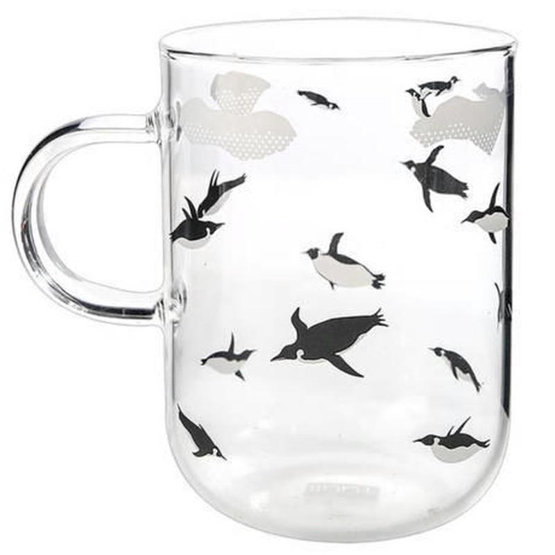 新品送料込 コップ 350ml 500ml 耐熱ガラス グラス しろくま ペンギン お茶会・女子会に おしゃれ食器 贈り物