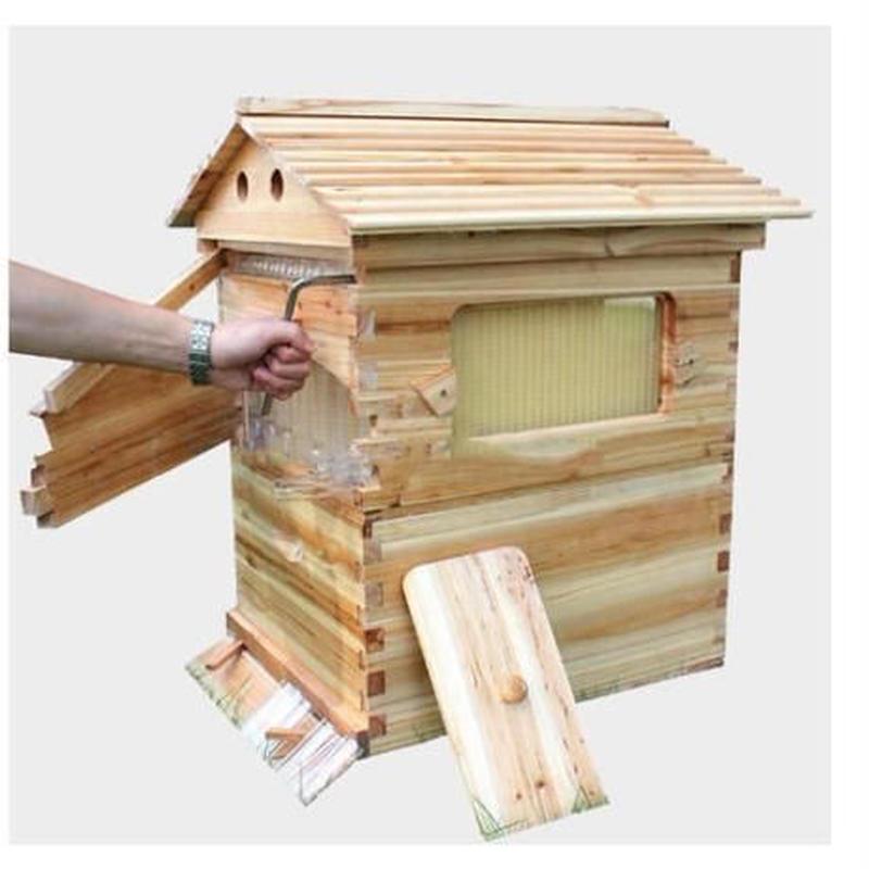 【組み立て式】蜂蜜がでてくるミツバチのお家♪ 養蜂 木製 蜂の巣 ハニーフローハイブ 7ピースフレーム 養蜂ツール