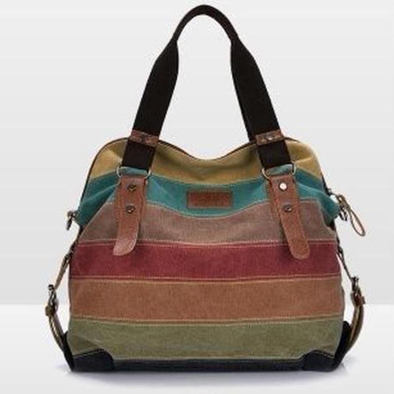 PHEDERA キャンバスバッグ ショルダーバッグにもハンドバッグにも レディース パッチワーク カジュアル ビッグサイズ