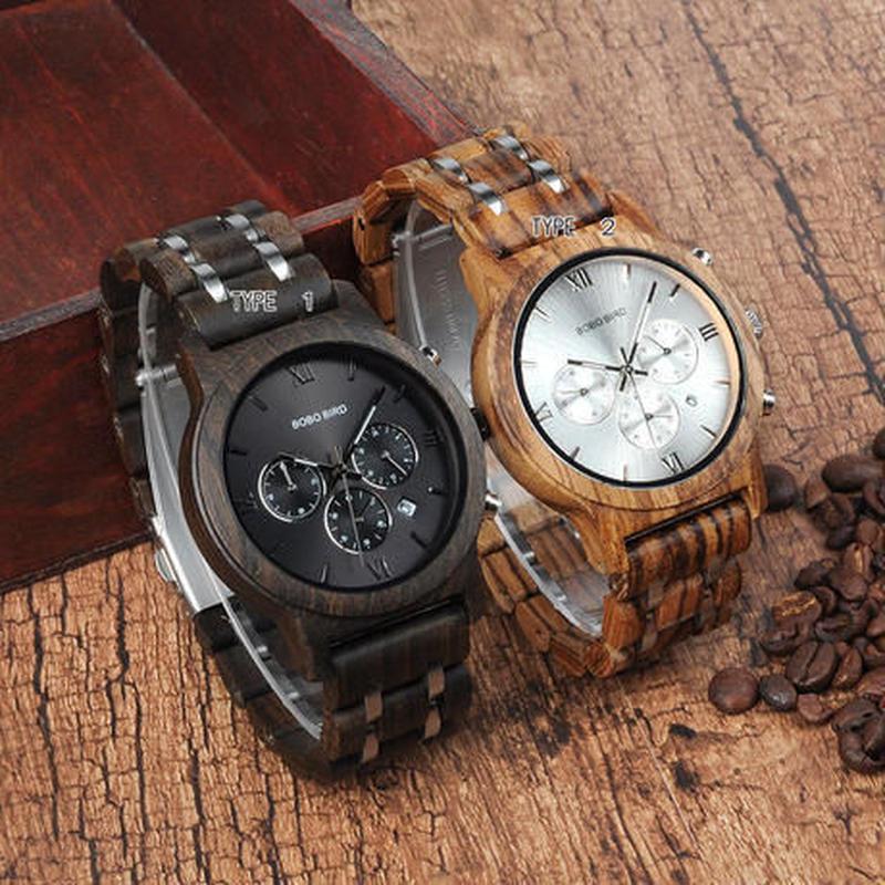 【BOBO BIRD】2色展開  木製腕時計 クォーツ 木の温もり 自然に優しい天然木 スタイリッシュ クロノ ストップウォッチ