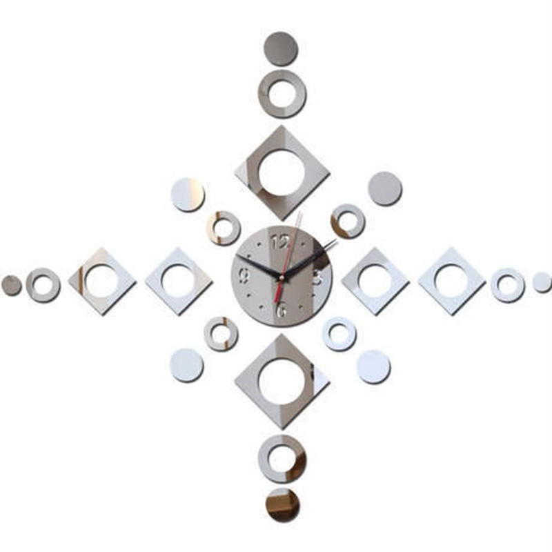 新品送料込★ 時計 壁掛け 3D 鏡 ミラー 十字 デザイナーズ 北欧モダン DIY お洒落 面白 輸入雑貨 インテリア 高性能