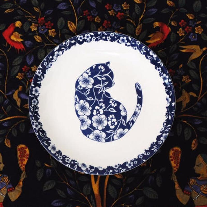 新品送料込 皿 セラミック 食器 青×白 インディゴブルー 猫×花 フランス カントリースタイル 高級