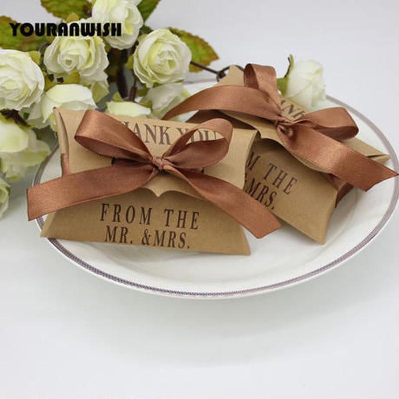 新品送料込 ギフトボックス 50個セット 枕型 クラフト リボン付 バレンタイン お誕生日会 結婚式 ラッピング プレゼント