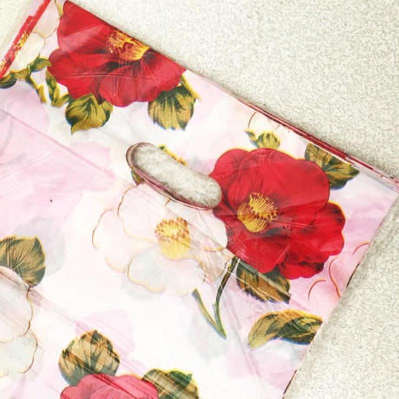 新品送料込 ギフトバッグ 手提げ袋 50枚セット 花柄 椿 25×35cm バレンタイン お誕生日会 ラッピング プレゼント