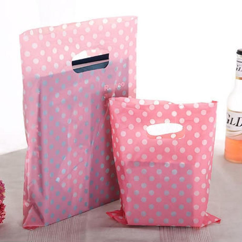 新品送料込 ギフトバッグ 手提げ袋 50枚セット 水玉 ドット 25×35cm バレンタイン お誕生日会 ラッピング プレゼント