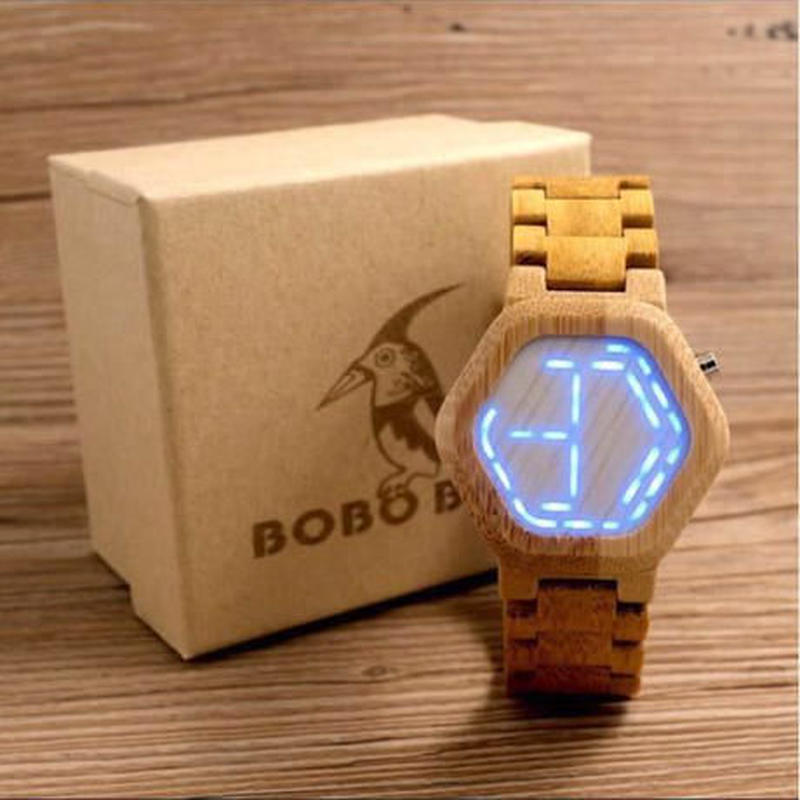 【BOBO BIRD】LED表示 ユニセックス 木製腕時計 シンプル 木の温もり 自然に優しい天然木 スタイリッシュ【自然に優しい天然木】