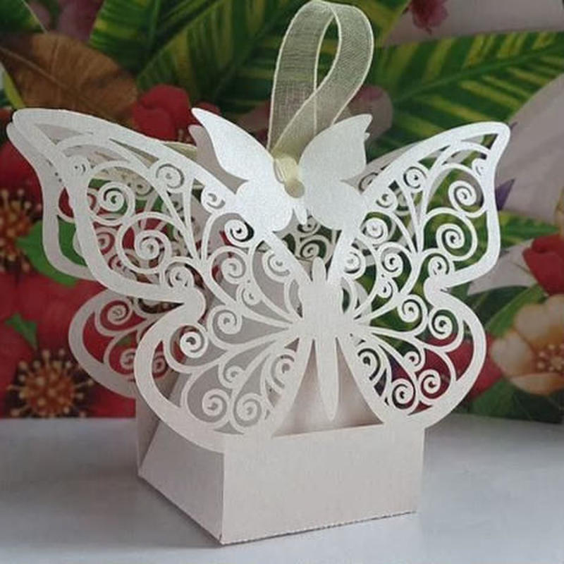 新品送料込 ギフトボックス 50個セット 蝶々デザイン リボン付 バレンタイン お誕生日会 結婚式 ラッピング プレゼント