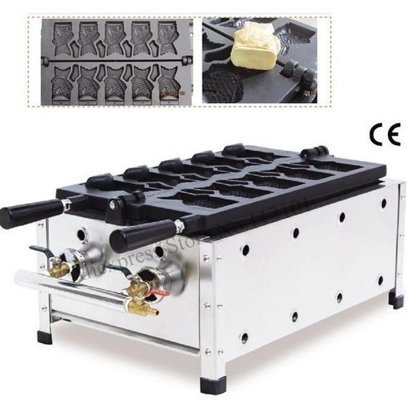アイスクリーム ワッフルコーン たい焼き機 ガスタイプ 5鋳型 オープンマウス 魚ワッフル たい焼き器 ストリートスナック