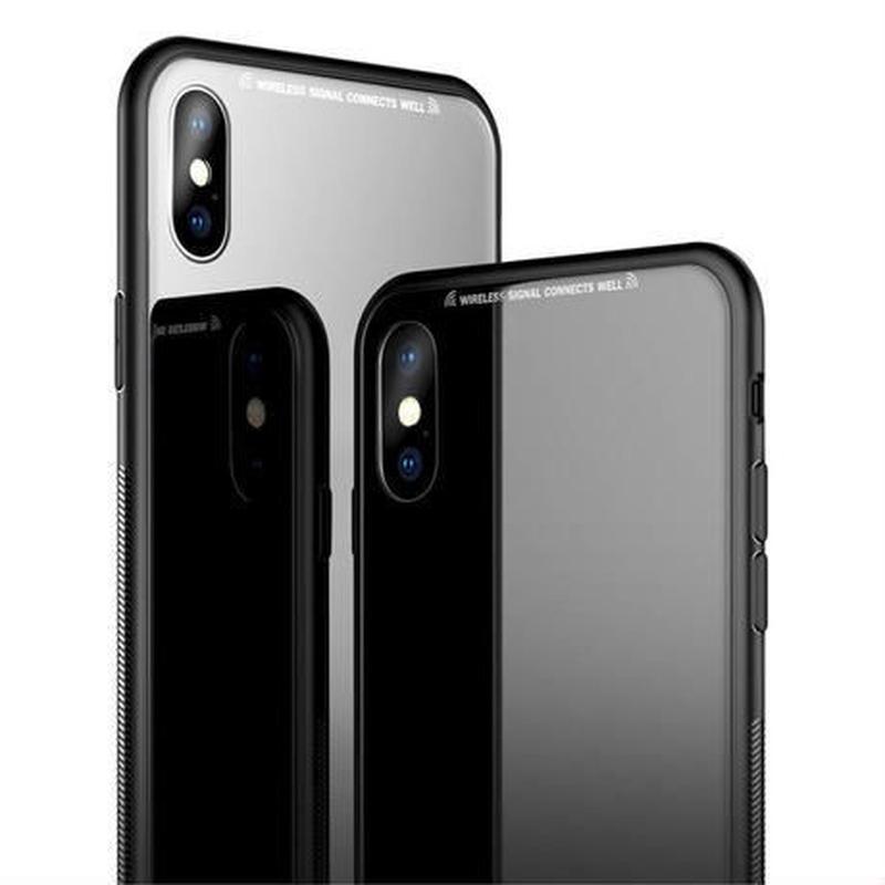3カラー展開 iPhone X ガラスケース 高級スリム 強化ガラスカバー