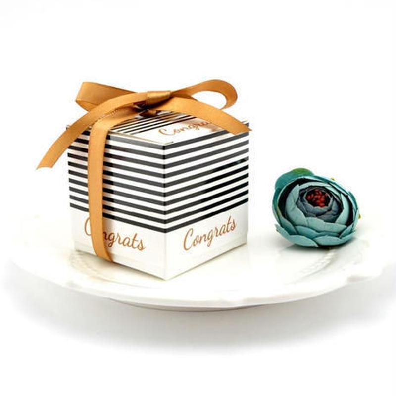 新品送料込 ギフトボックス 100個セット ストライプ リボン付 バレンタイン お誕生日会 結婚式 ラッピング プレゼント